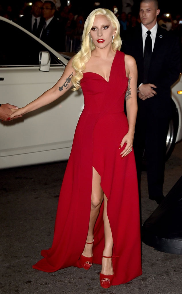 Lady Gaga Wears Sexy Red Dress at American Horror Story: Hotel ...