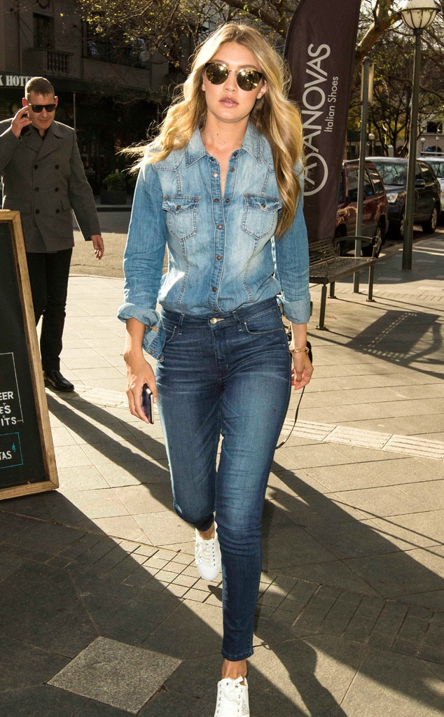 Denim Du Jour From Gigi Hadid 39 S Street Style E News
