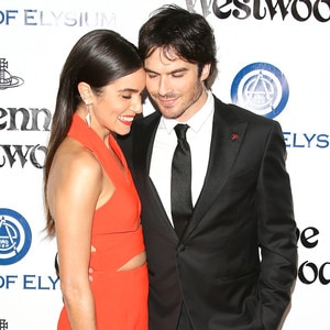 Nikki Reed Wears Orange, Acts Cute With Ian at at Pre-Globes Party