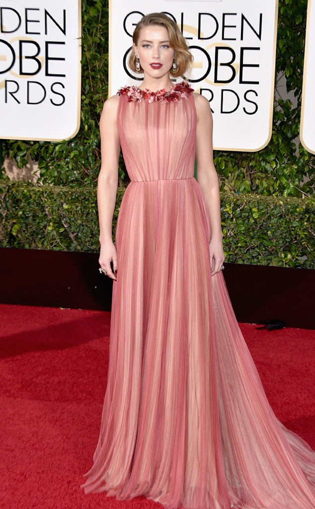 Amber heard from 2016 golden globes red carpet arrivals e news - Golden globes red carpet ...