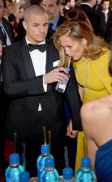 Golden Globe Awards Water, Jennifer Lopez, Casper Smart