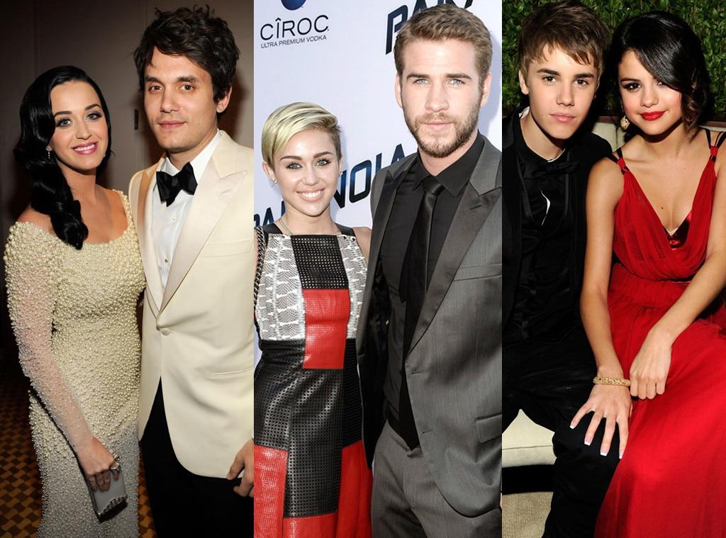 Miley Cyrus, Liam Hemsworth, John Mayer, Katy Perry, Miley Cyrus, Justin Bieber