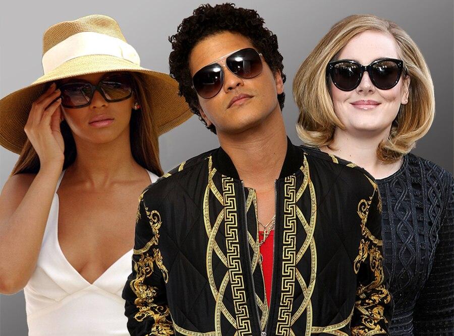 Beyonce, Bruno Mars, Adele
