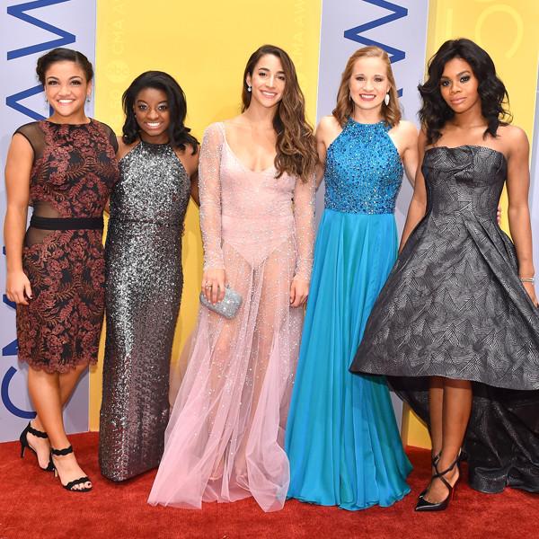 Laurie Hernandez, Simone Biles, Aly Raisman, Madison Kocian, Gabby Douglas, 2016 CMA Awards