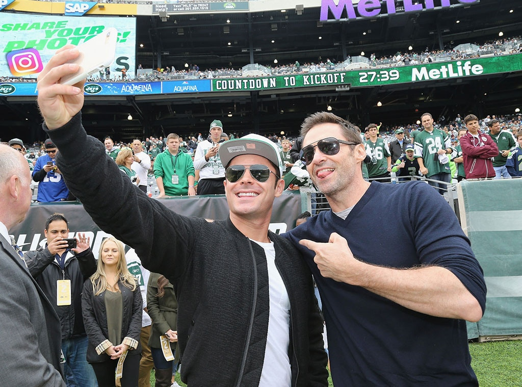 Zac Efron, Hugh Jackman, Mets Game