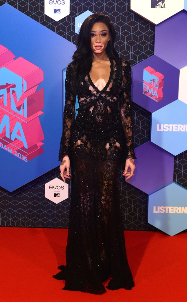 f8974339772 Model Winnie Harlow absolutely rocked in the lacy black dress on the 2016  MTV EMAs Red Carpet.
