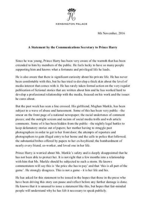 Prince Harry, statement