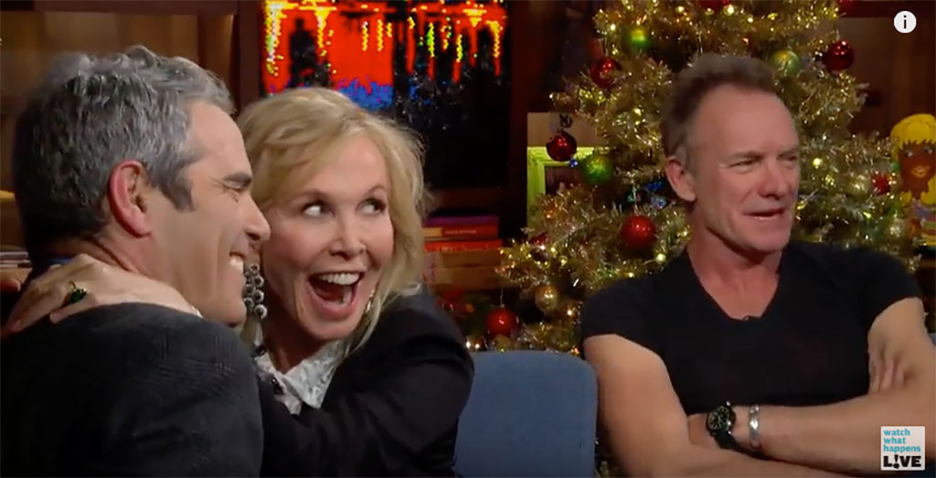 Andy Cohen, Sting, Trudie Styler