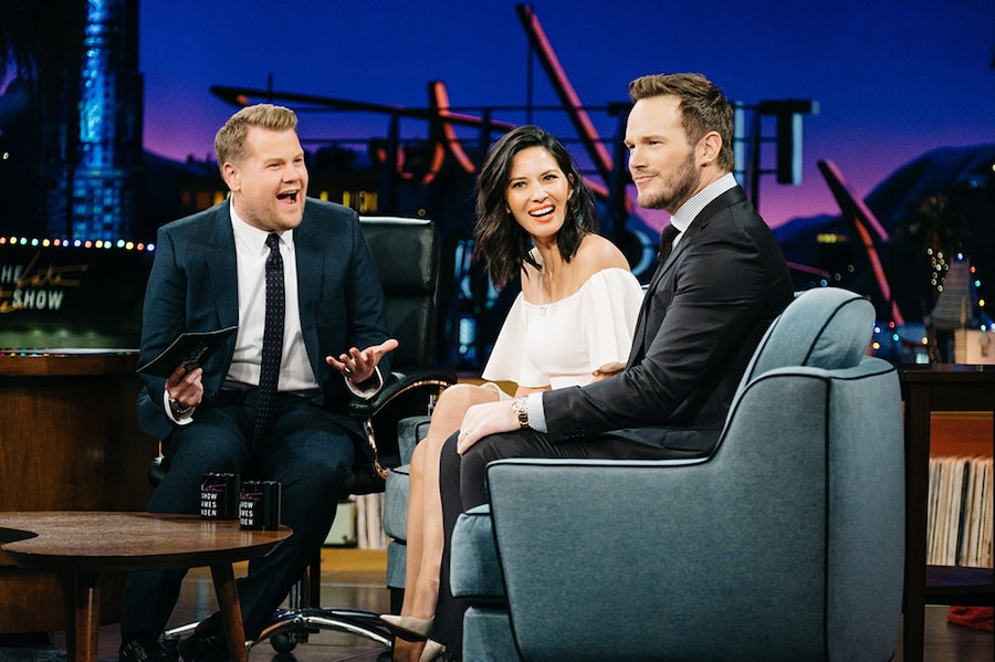 Olivia Munn, Chris Pratt, James Corden, The Late Late Show