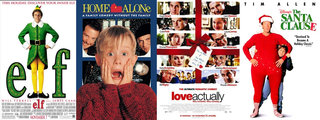 Christmas Movies, Elf, Home Alone, Love Actually, The Santa Clause
