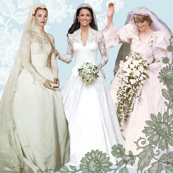 Royal Wedding Dresses, Grace Kelly, Kate Middleton, Princess Diana