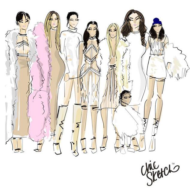 Kardashian Family, Yeezy, Chic Sketch