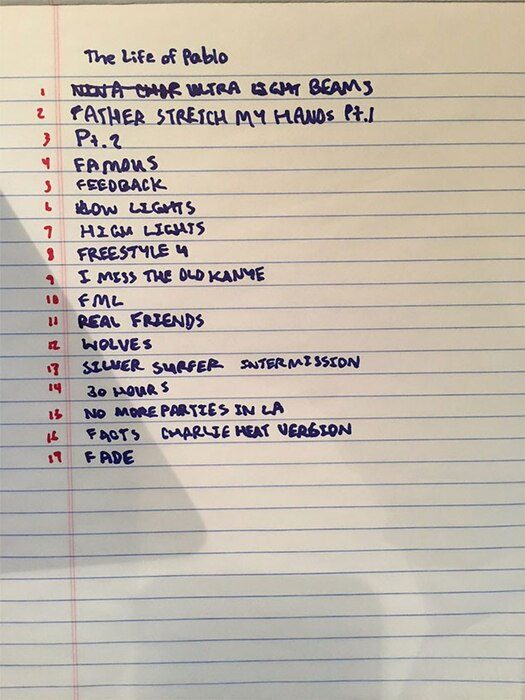 Kanye West, The Life of Pablo Album, Track List 2/12