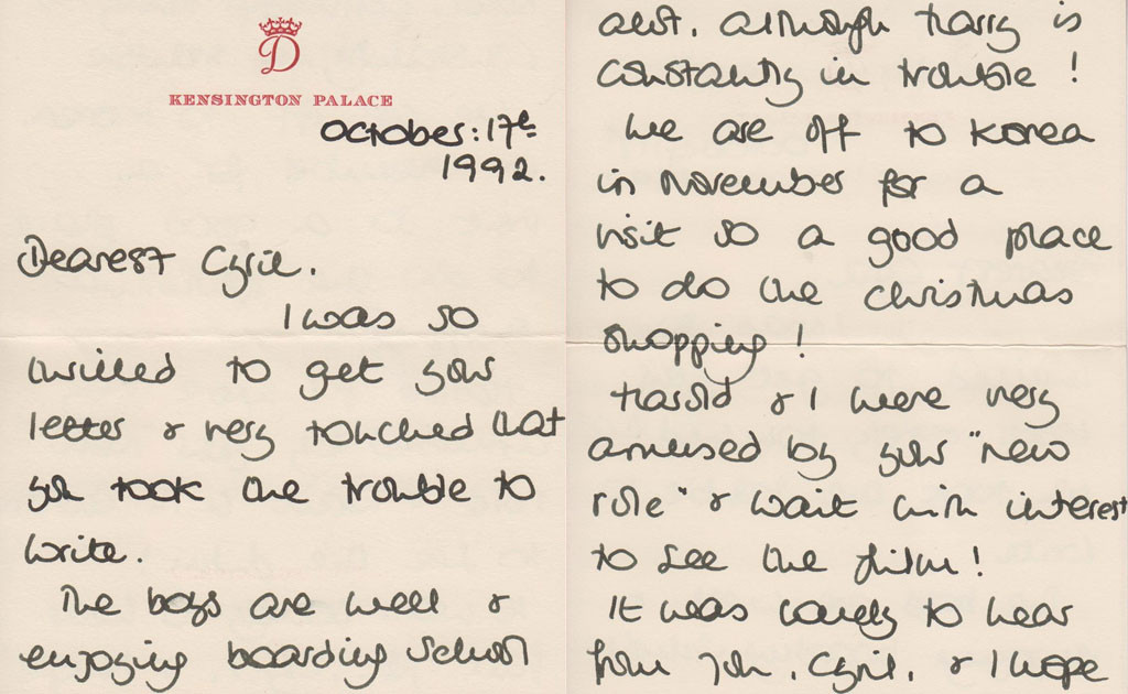 Princess Diana, Letters