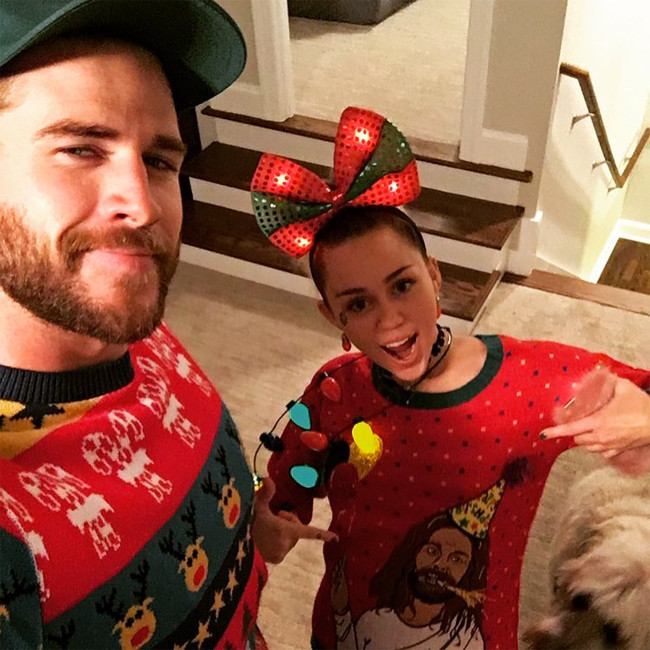 Miley Cyrus, Liam Hemsworth, Christmas 2016