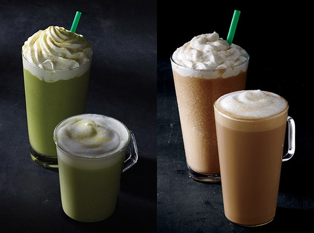 Starbucks, Smoked Butterscotch Latte, Teavana Citrus Green Tea Latte