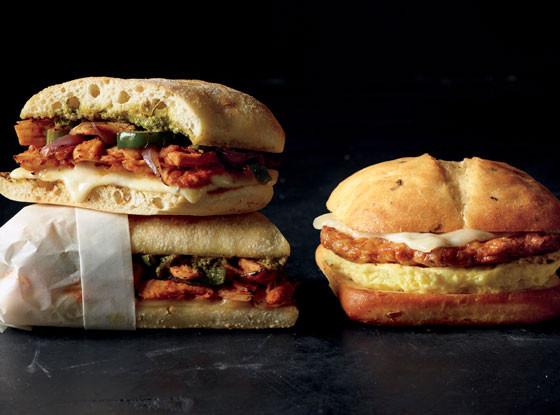 Starbucks, Spicy Chorizo Monterey Jack & Egg Breakfast Sandwich, Ancho-Chipotle Chicken Panini