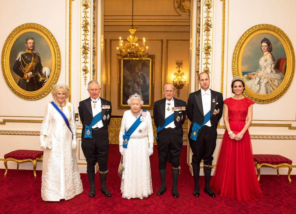 The Duchess of Cornwall, the Prince of Wales, Queen Elizabeth II, the Duke of Edinburgh, Duke of Cambridge, Duchess of Cambridg