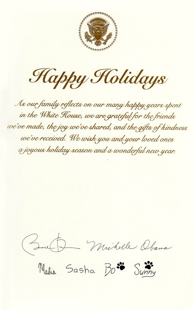 Obama Holiday Card, Barack Obama, Michelle Obama, Sasha Obama, Malia Obama