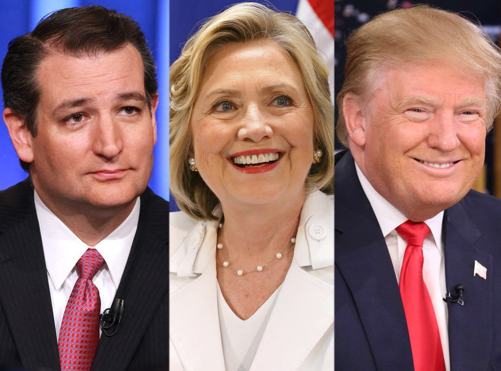 Ted Cruz, Hillary Clinton, Donald Trump