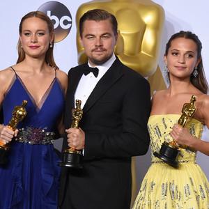 Mark Rylance, Brie Larson, Leonardo DiCaprio, Alicia Vikander, 2016 Oscars, Academy Awards, Winner