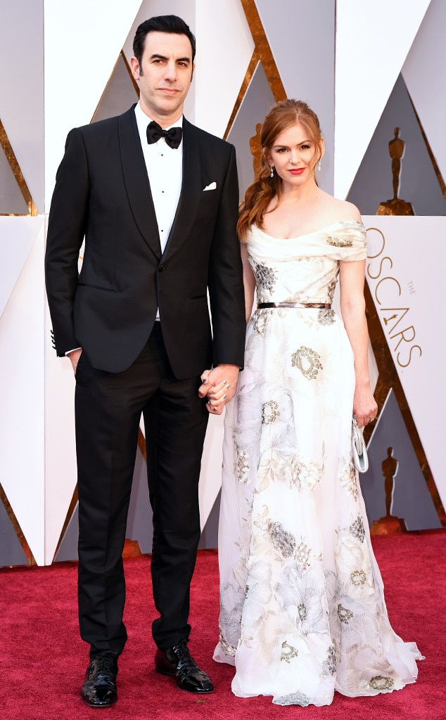 2016 Oscars, Academy Awards, Arrivals, Sacha Baron Cohen, Isla Fisher, Couples