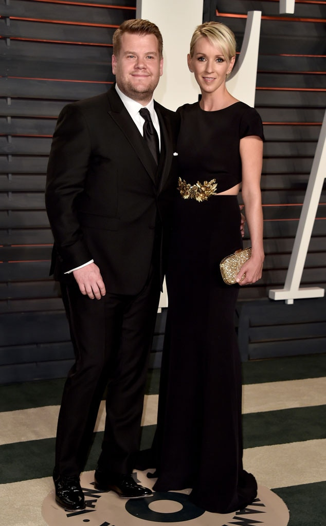 British television personalty James Corden and his wife Julia Carey