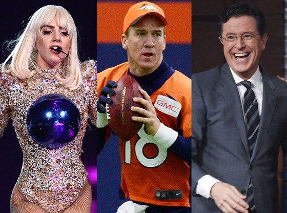 Lady Gaga, Peyton Manning, Stephen Colbert