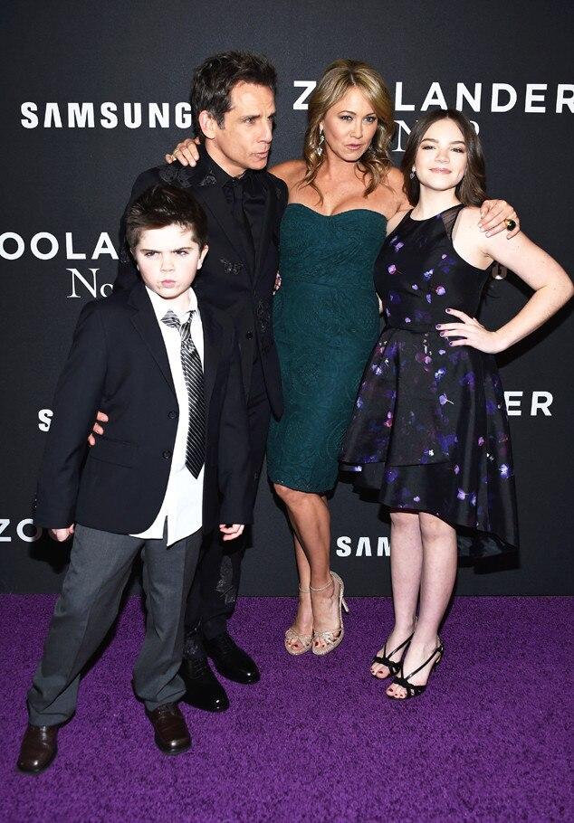 Quinlin Stiller, Ben Stiller, Christine Taylor, Ella Stiller, Zoolander 2 NY Premiere