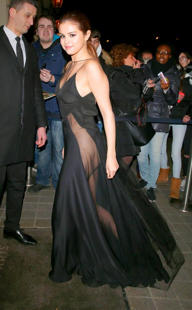 Selena Gomez Amas 2017 >> Selena Gomez Stuns in Risqué Sheer Black Gown During Paris Fashion Week | E! News