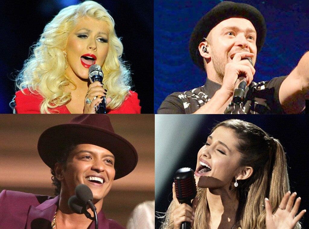 Christina Aguilera, Ariana Grande, Justin Timberlake, Bruno Mars