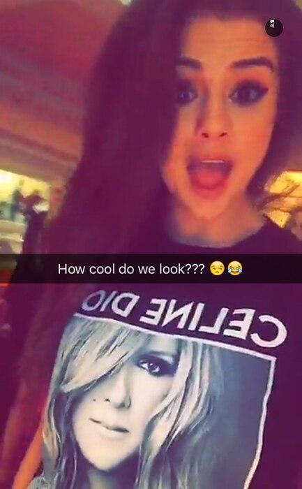 Selena Gomez, Celine Dion, Las Vegas Concert, Snapchat, Tongues