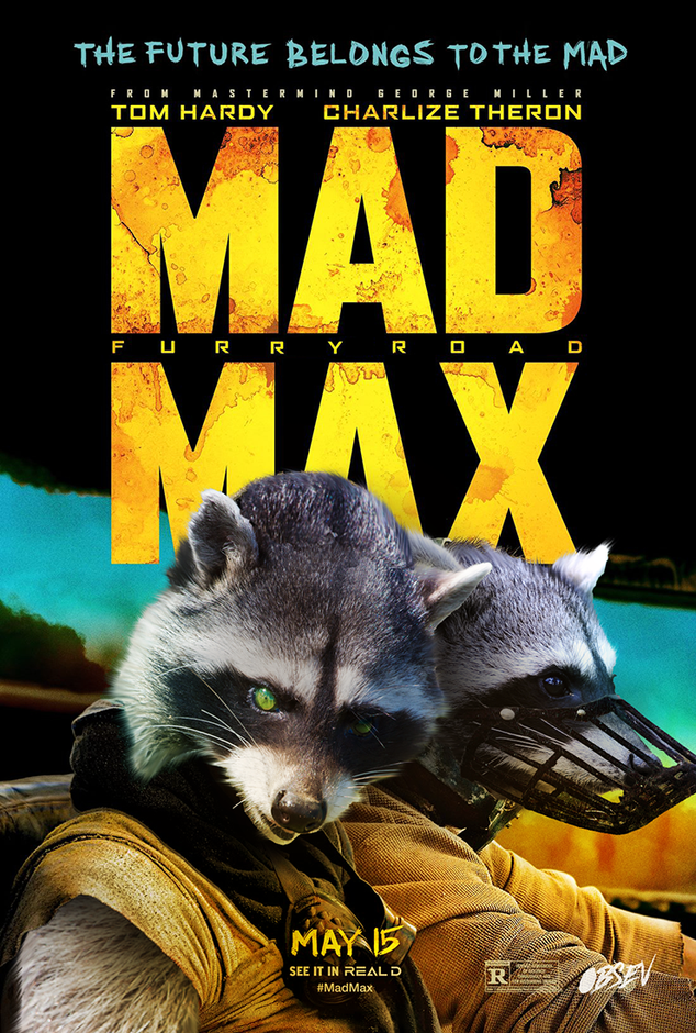 Raccoons in Iconic Movie Posters