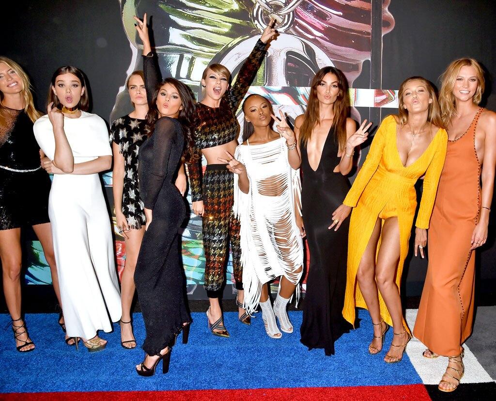 Gigi Hadid, Martha Hunt, Hailee Steinfeld, Cara Delevingne, Selena Gomez, Taylor Swift, Serayah McNeill, Lily Aldridge, Karlie Kloss