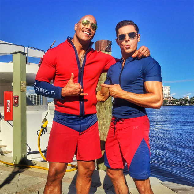 Dwayne Johnson, Zac Efron, Baywatch Set