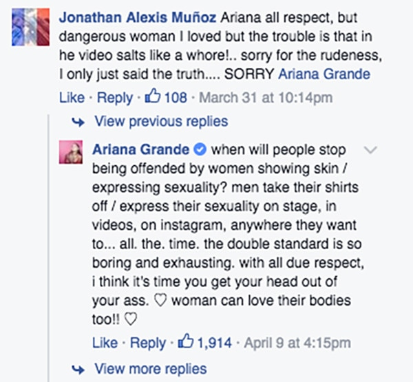 Ariana Grande, Facebook Post