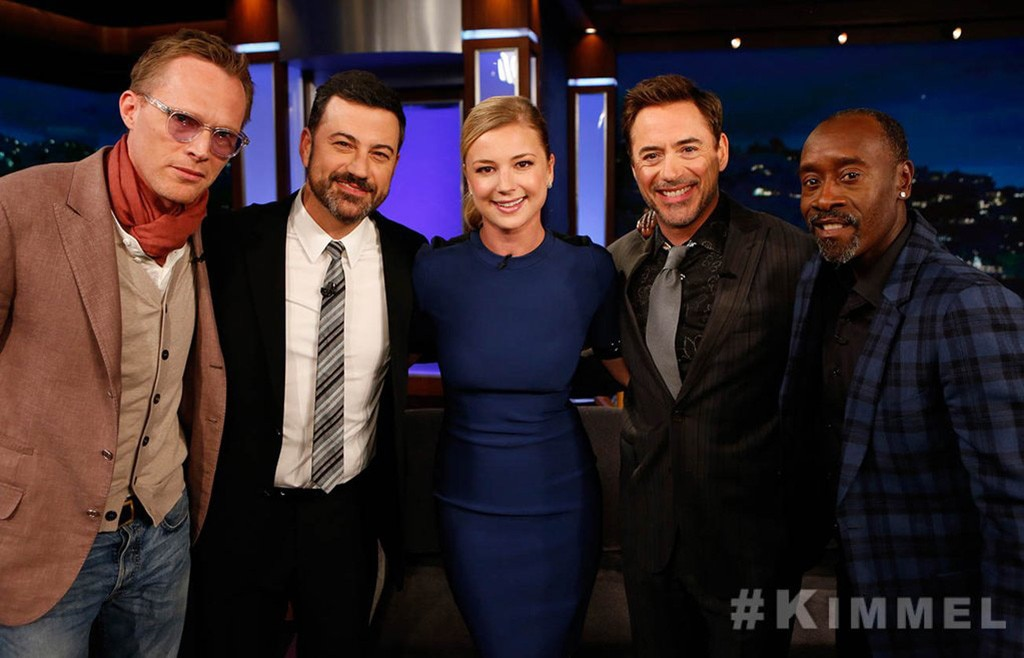 Paul Bettany, Jimmy Kimmel, Emily VanCamp, Robert Downey Jr., Don Cheadle