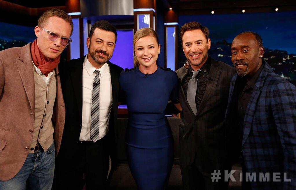 Paul Bettany, Jimmy Kimmel, Emily VanCamp, Robert Downey Jr., Don Cheadle