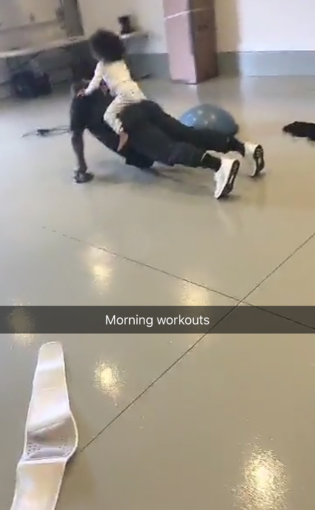 Kanye West, North West, Workout, Snapchat