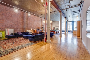 Adam Levine, Behati Prinsloo, New York City Loft Home for Sale, Living Room