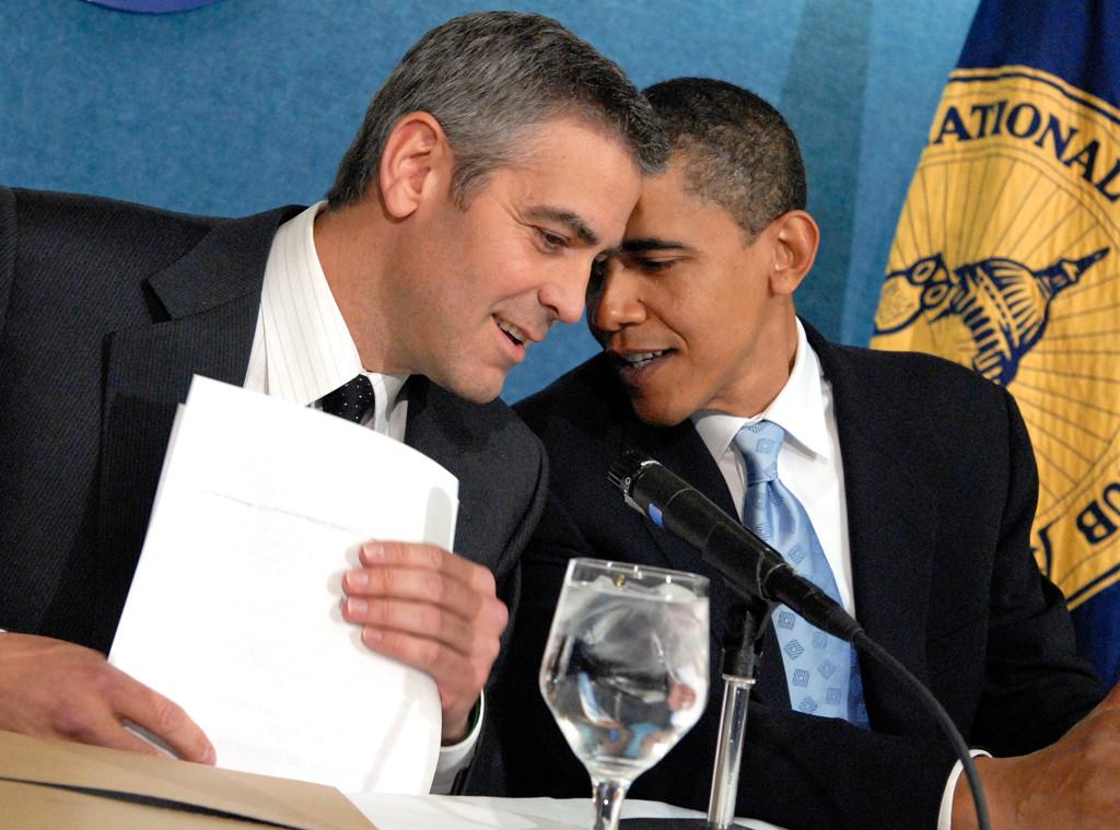 Celebs With Obama, George Clooney, Barack Obama
