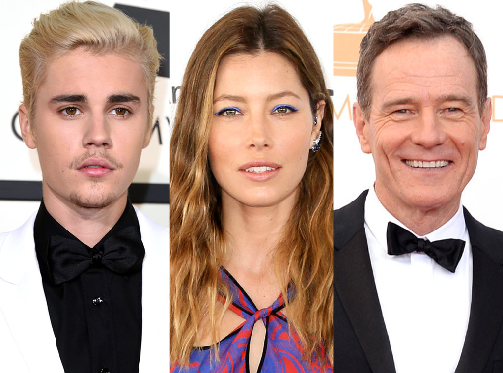 Justin Bieber, Jessica Biel, Bryan Cranston