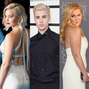 Jennifer Lawrance, Justin Bieber, Amy Schumer