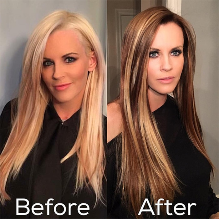 Jenny mccarthy is now a brunette and takes us back to early 00s jenny mccarthy brunette blonde hair pmusecretfo Images