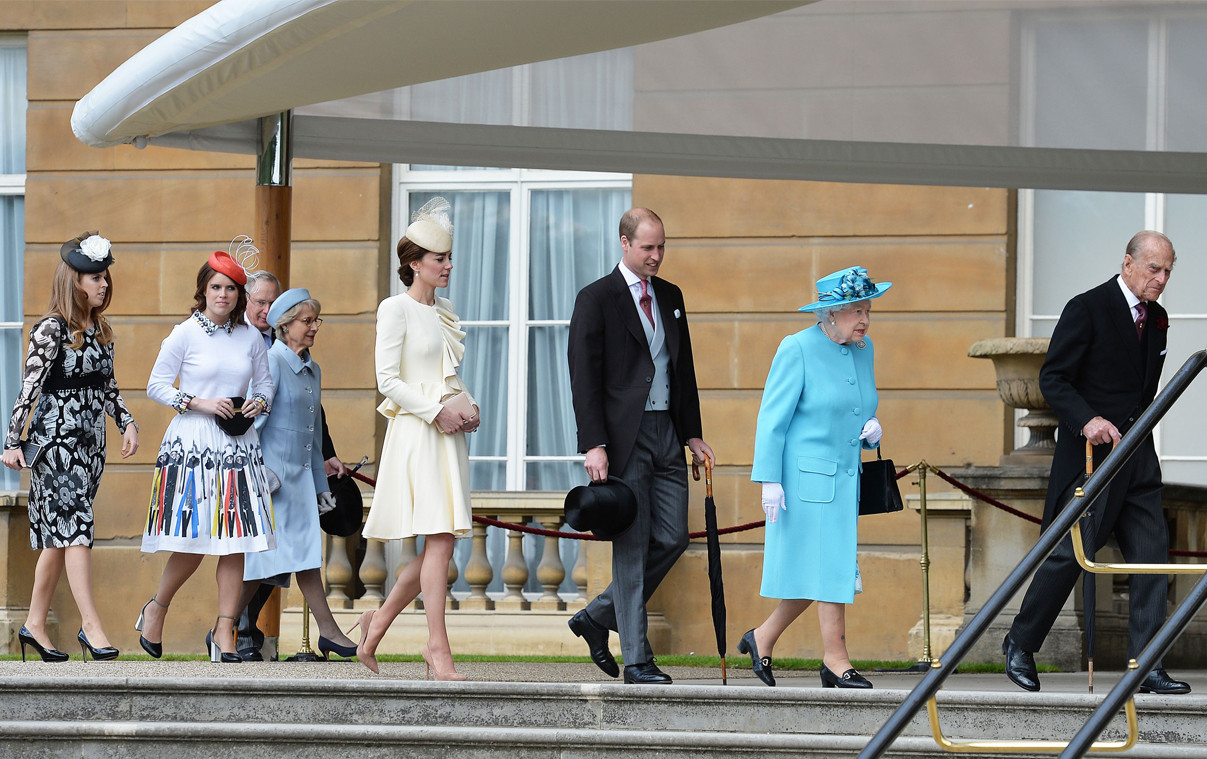 Princess Beatrice, Princess Eugenie, Prince William, Kate Middleton, Queen Elizabeth II, Duke of Edinburgh