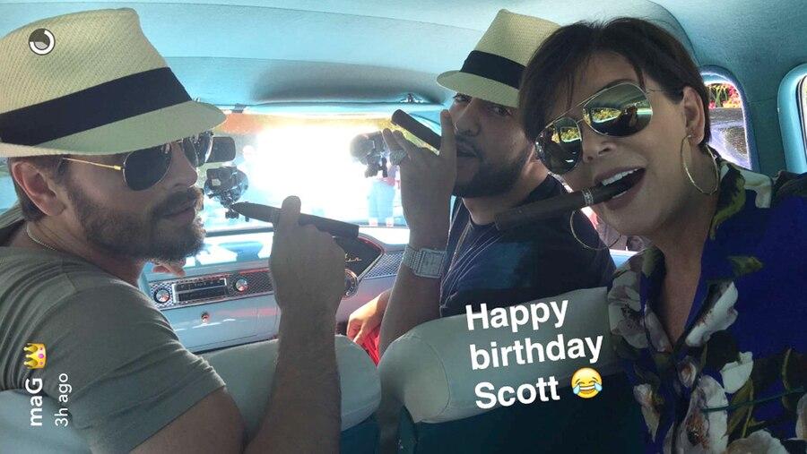Kylie Jenner, Scott Disick, Kris Jenner, French, Scott's Birthday