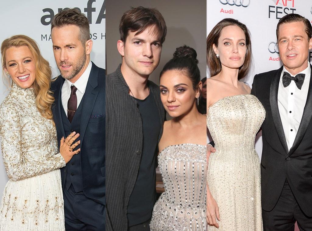 Angelina Jolie, Brad Pitt, Ryan Reynolds, Blake Lively, Ashton Kutcher, Mila Kunis