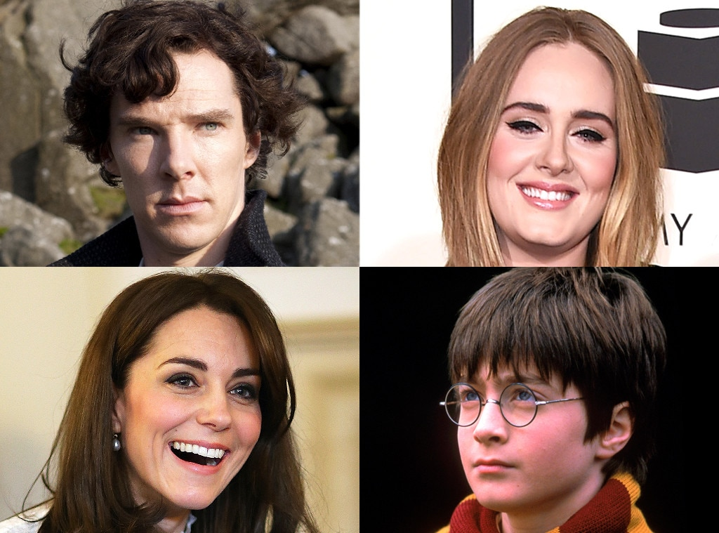 Kate Middleton, Benedict Cumberbatch, Adele, Daniel Radcliff, British Things