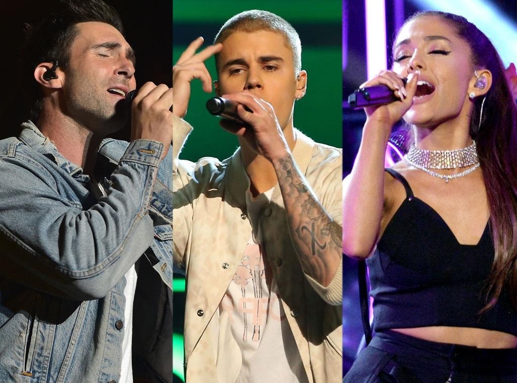Justin Bieber, Adam Levine, Ariana Grande
