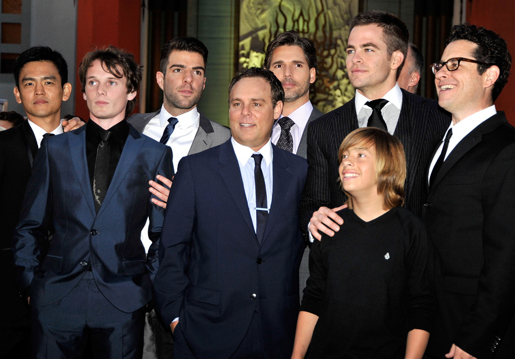 John Cho, Anton Yelchin, Zachary Quinto, Bryan Burk, Eric Bana, Chris Pine, Jimmy Bennett, J.J. Abrams